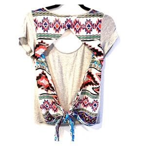 Daytrip Open Back Tribal Print Shirt